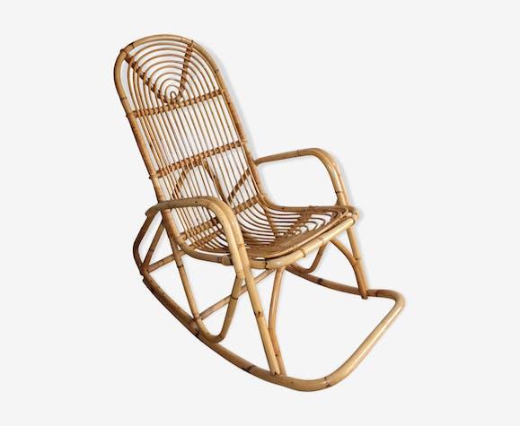 Rocking chair en rotin vintage 1960