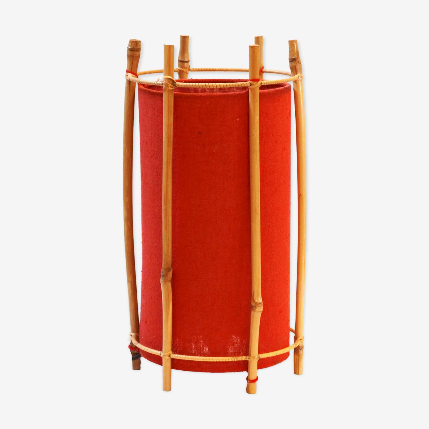 Lampe de table en bambou et tissu