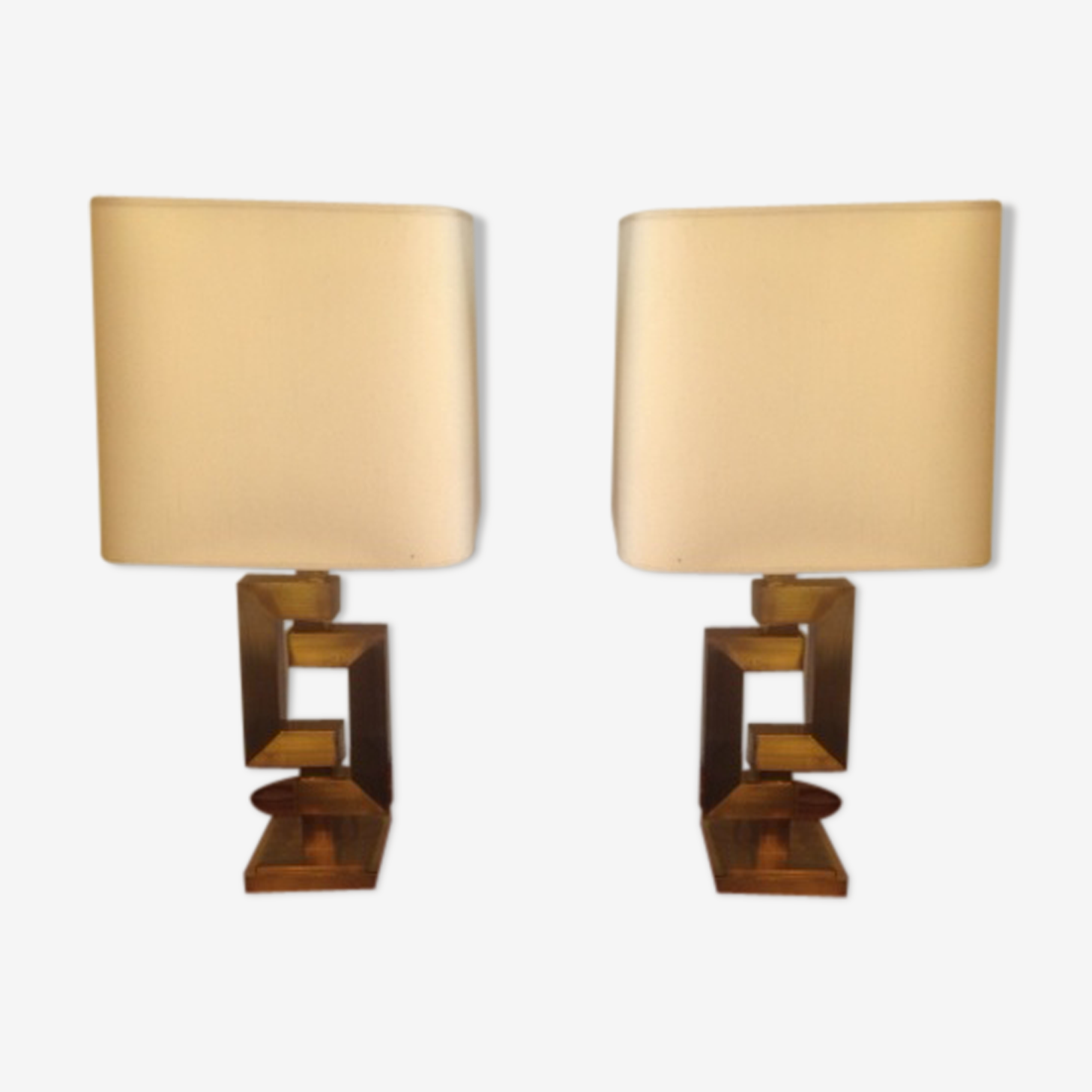 Pair of geometric brass lamps