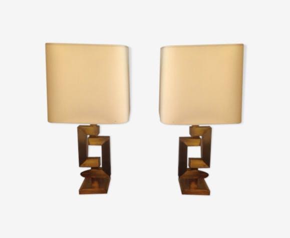 Pair of geometric brass lamps