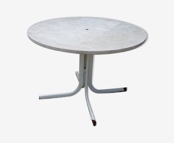 Table jardin ronde en marbre - marbre - blanc - classique - 7cJ8d1m