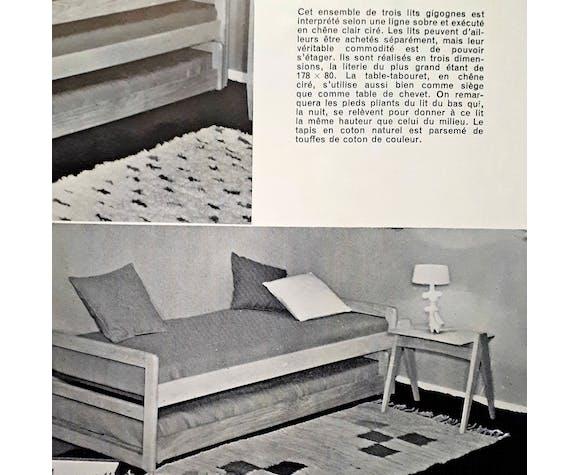 Bout de canapé en chêne de E. Seigneur, 1959.