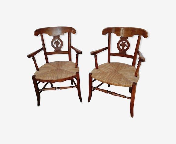 Paire de fauteuils paillé et bois style directoire