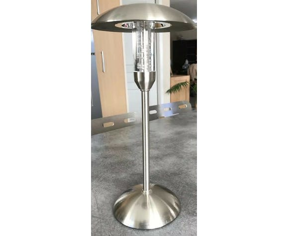 Lampe de bureau à poser led en forme de champignon en métal brossé