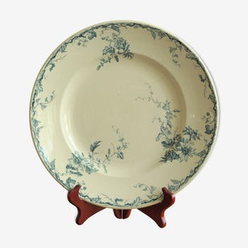 """Dish Luneville faience """"Passionflower"""""""
