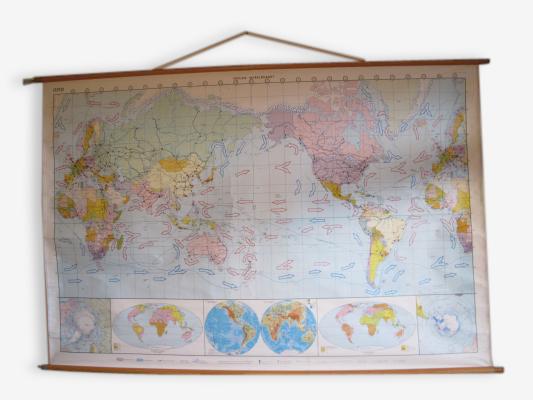 Grande carte d'école nouveau monde vintage