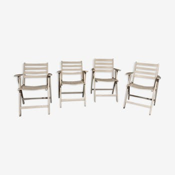 Garden white wood armchairs