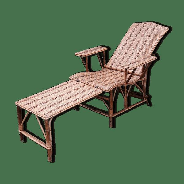 Chaise longue ancienne en rotin rotin et osier bois couleur art d co 14ql93y - Chaise longue ancienne bois ...