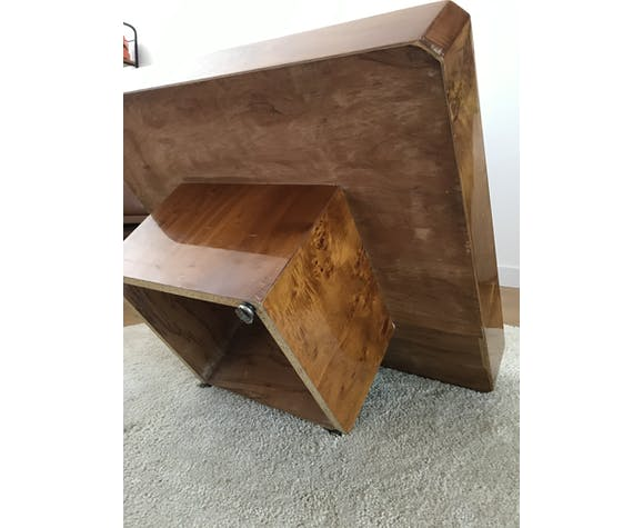 Table basse vintage carrée en loupe d'Orme