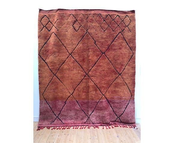 Moroccan Berber carpet beni Ouarain orange and red 2.66x2.28m