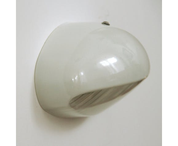 Wall light Holophane Prismopal, enamelled glass industrial