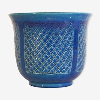 Pot en céramique émaillée bleu de Pol Chambost signé