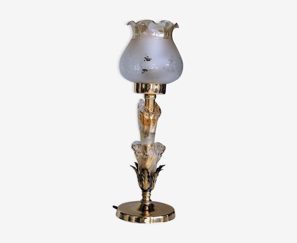 Lampe à poser décoration verre métal