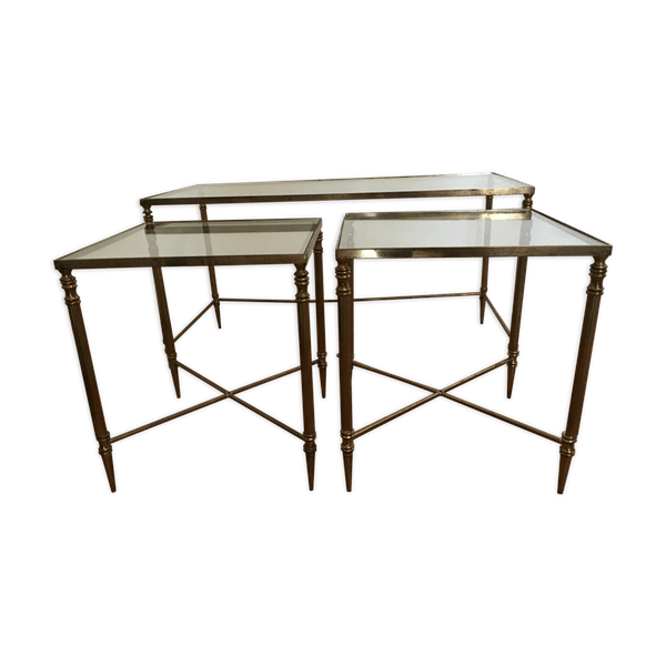 Table Basse Gigogne Verre Et Laiton Laiton Dore Bon Etat Vintage Oomvxvo