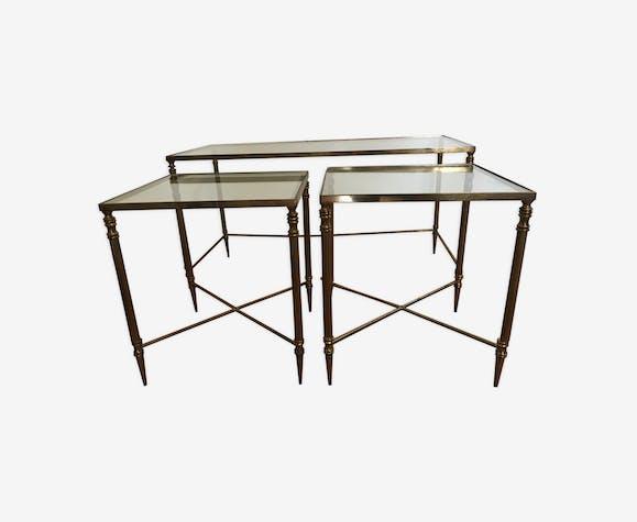 Table Basse Gigogne Verre Et Laiton Laiton Dore