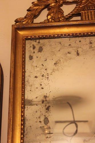 Miroir ancien doré Louis XVI de mariage - 101x58cm