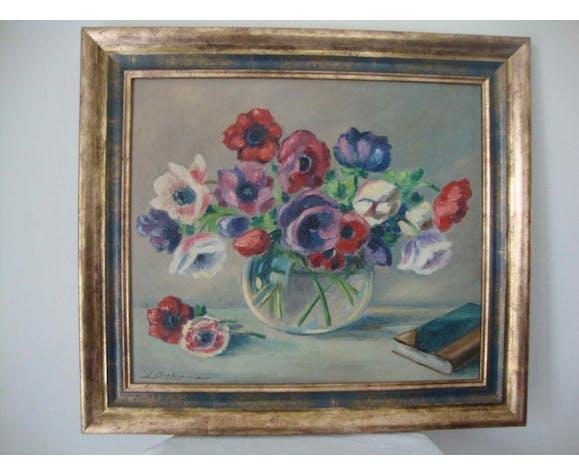 Tableau ancien bouquet d'anémones