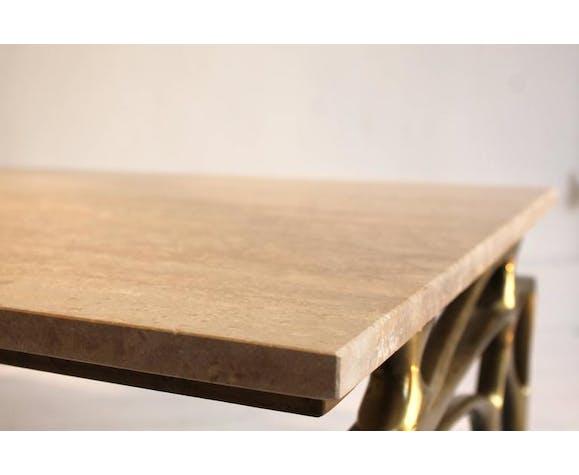 Table basse en bronze doré et travertin des années 1970 signée Willy Daro