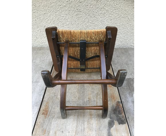 Ancien tabouret pliant en bois