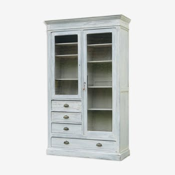 Beautiful glass cabinet white patina