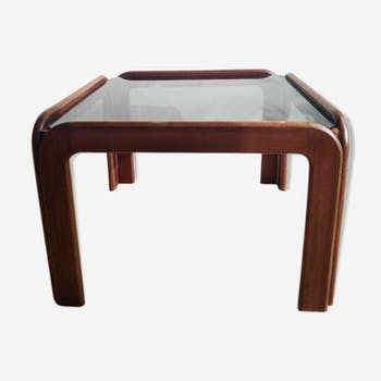 Coffee table in teak and smoked glass 1970