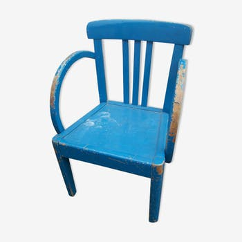 1960 blue painted wooden chair