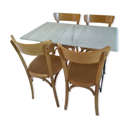 Office Cabin Interior Design, Marble Table Set And Chairs By Bistrot Luterma 1950 Selency