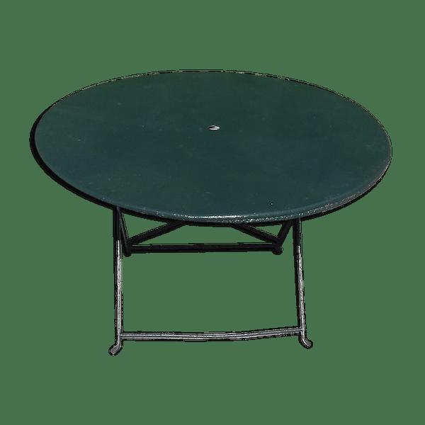 Table pliante de jardin ronde verte année 1900 en fer forgé - fer - vert -  bon état - classique - loixS61