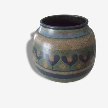 Céramique vase allemand bleu marron rond