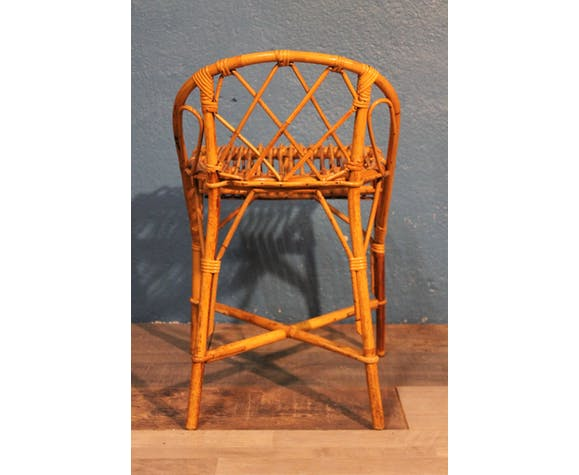 Tabouret bar enfant rotin 1960