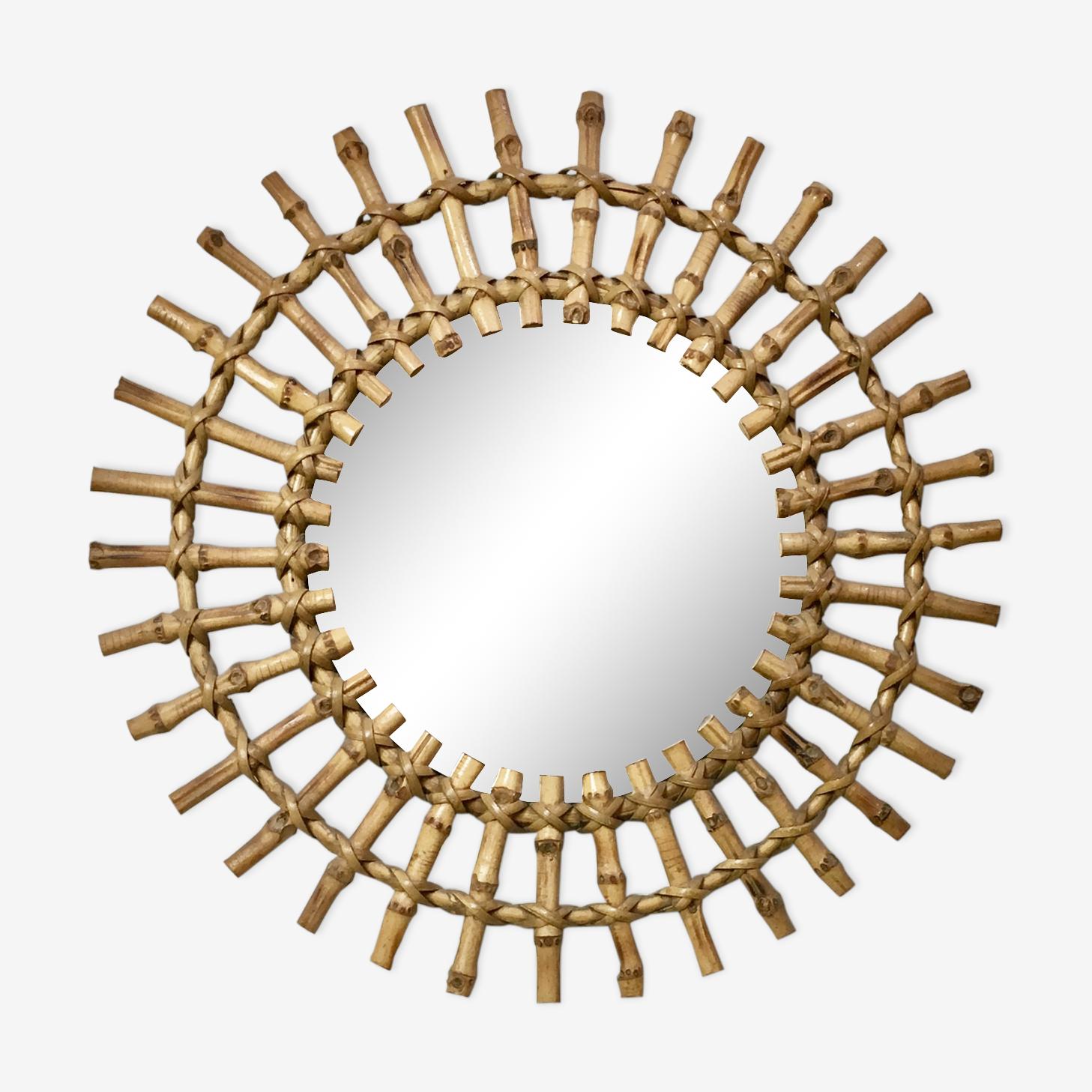 Miroir soleil en rotin vintage diamètre 46cm