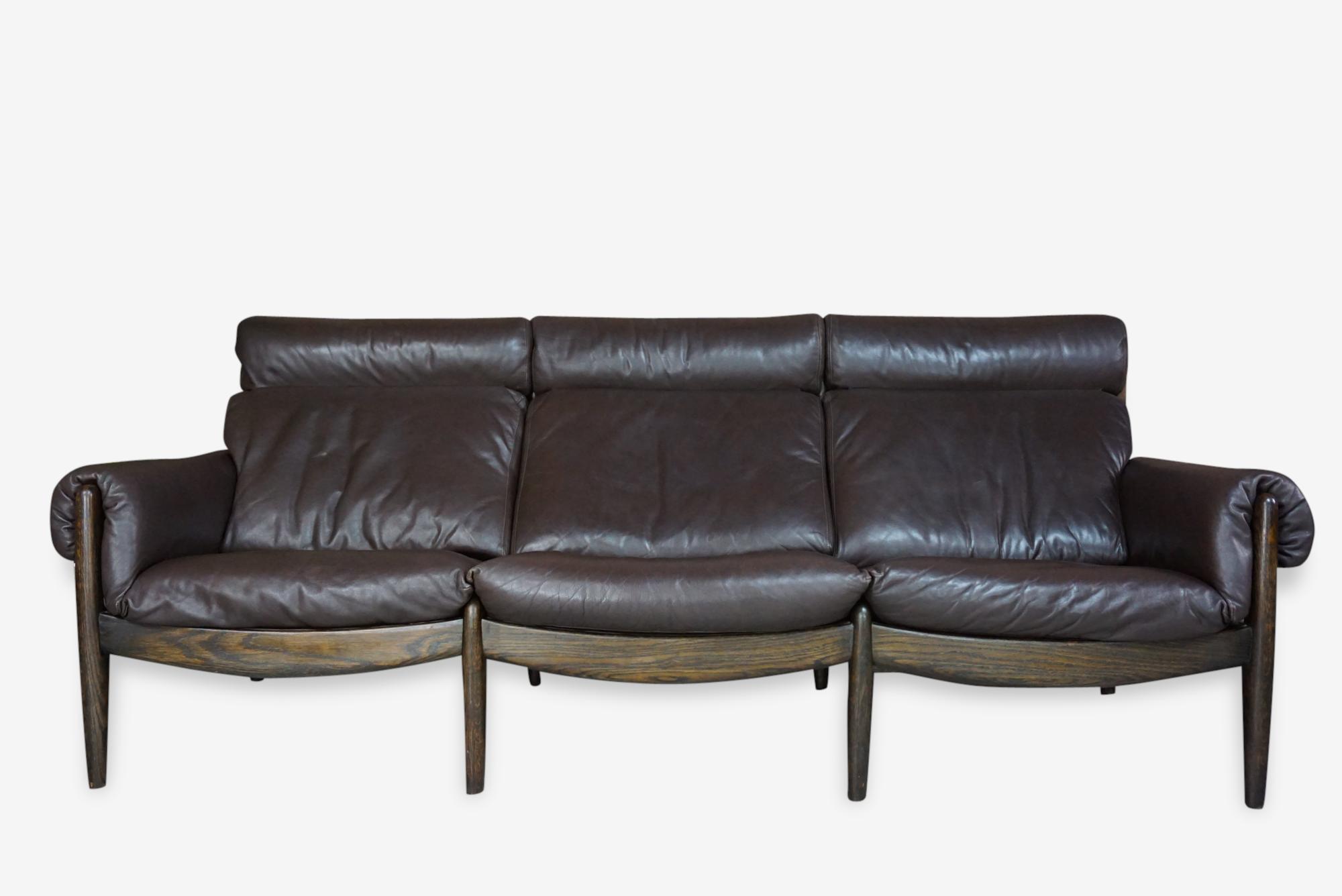 Canapé scandinave 3 places en cuir