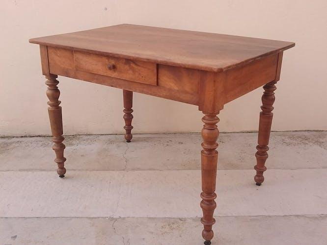 Table bistrot ancienne en chêne avec tiroir