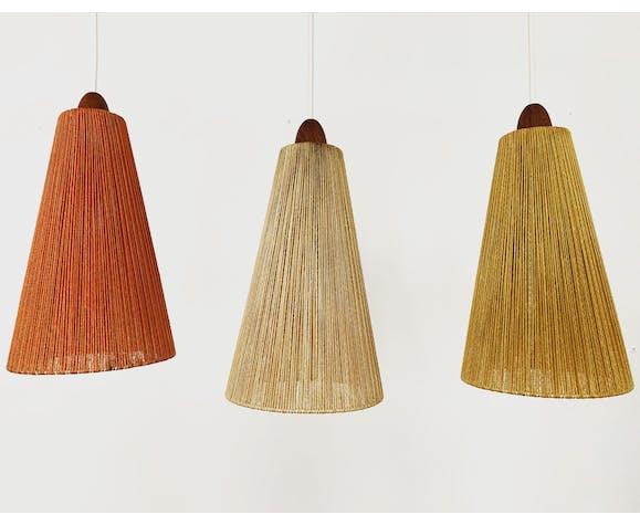 Suspension en bois de teck moderne du milieu du siècle avec abat-jour colorés