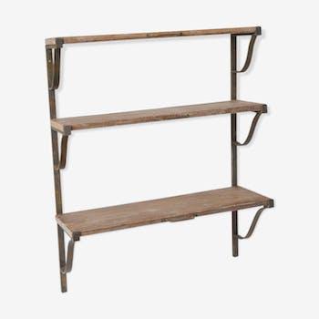 Étagère suspendue 3 niveaux en bois et fer