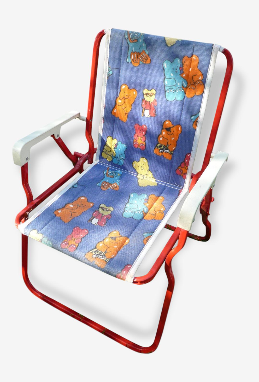 Petite Chaise De Camping Enfant Vintage 80s Tissu Bleu