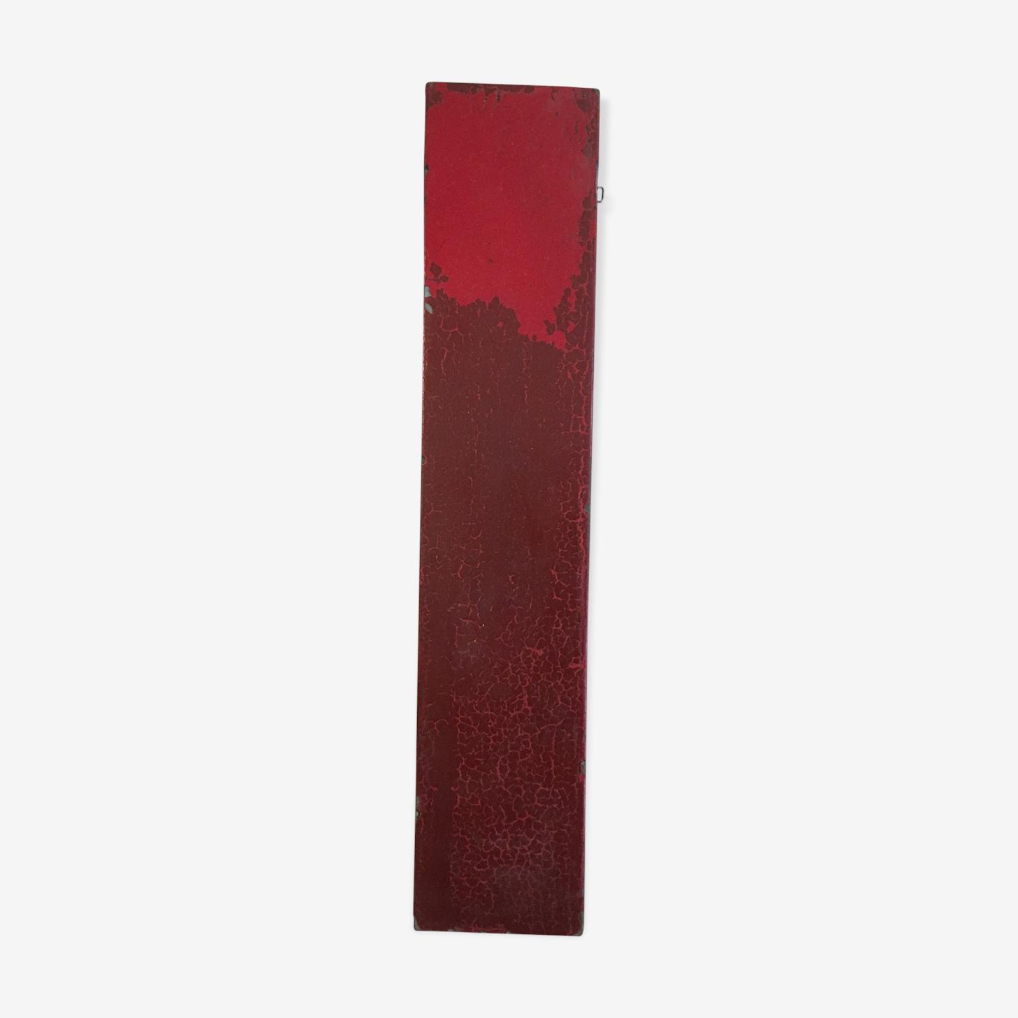 Red sign letter i in zinc old metal 30 cm