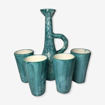 Service to Orange vintage vallauris bonaudi pitcher & 4 glasses