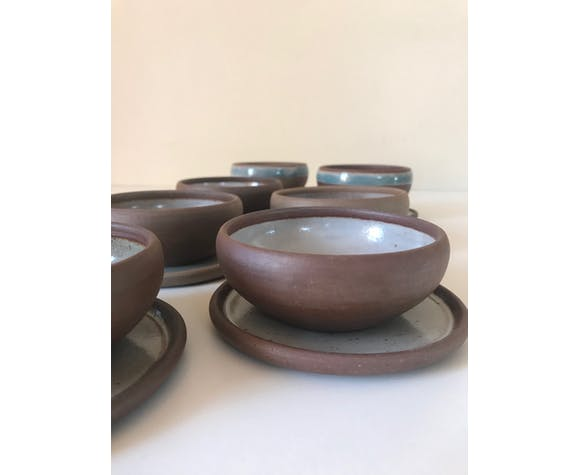 Vintage ceramic sandstone cups and cups Roger Jacques