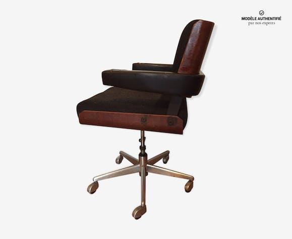 Fauteuil de bureau alain richard bois matériau noir design