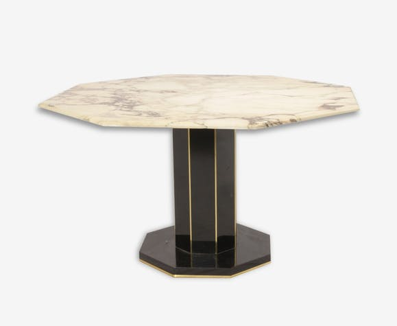 Tr s belle table manger marbre laque laiton roche bobois for Table de salle a manger roche bobois