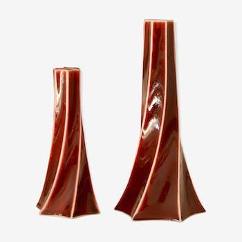 Ensemble de 2 bougeoirs design Spin céramique porcelaine chinoise de Jingdezhen