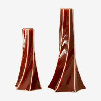 Set of 2 candlesticks design ceramic Spin Chinese porcelain of Jingdezhen