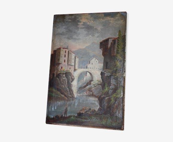 Huile sur toile ancienne Pont-en-Royans signature monogramme AB