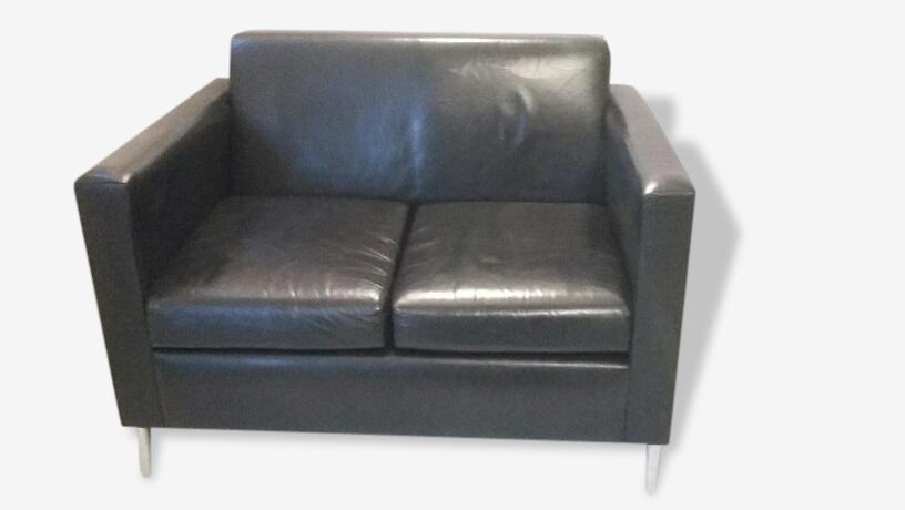Canapé 2 places cuir noir Stark 1994