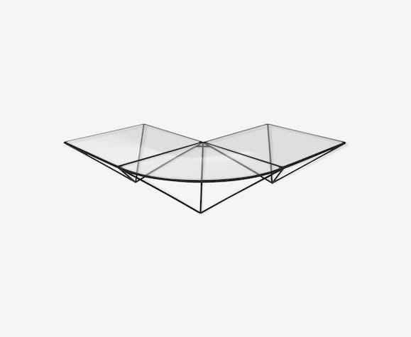 Table basse d'angle en verre, années 1980