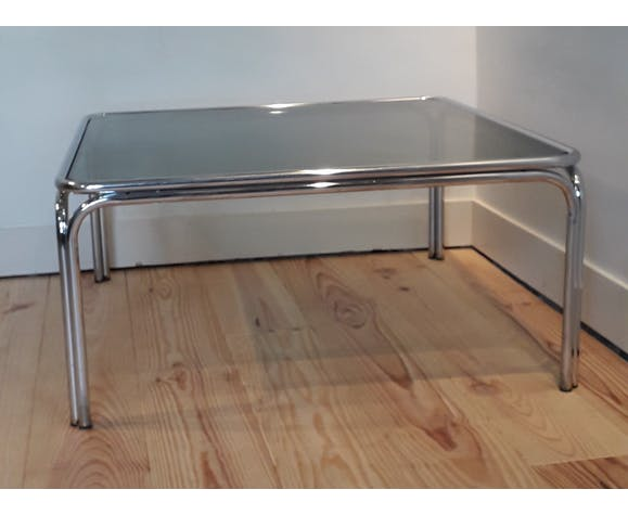 Table low metal and smoked glass
