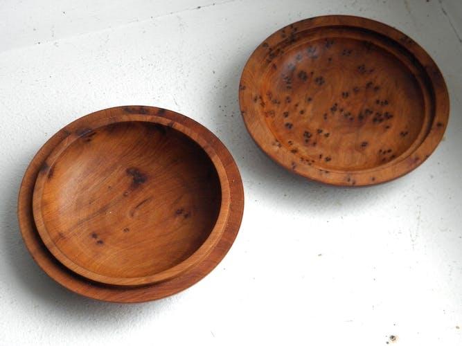 Trois boîtes en loupe de thuya