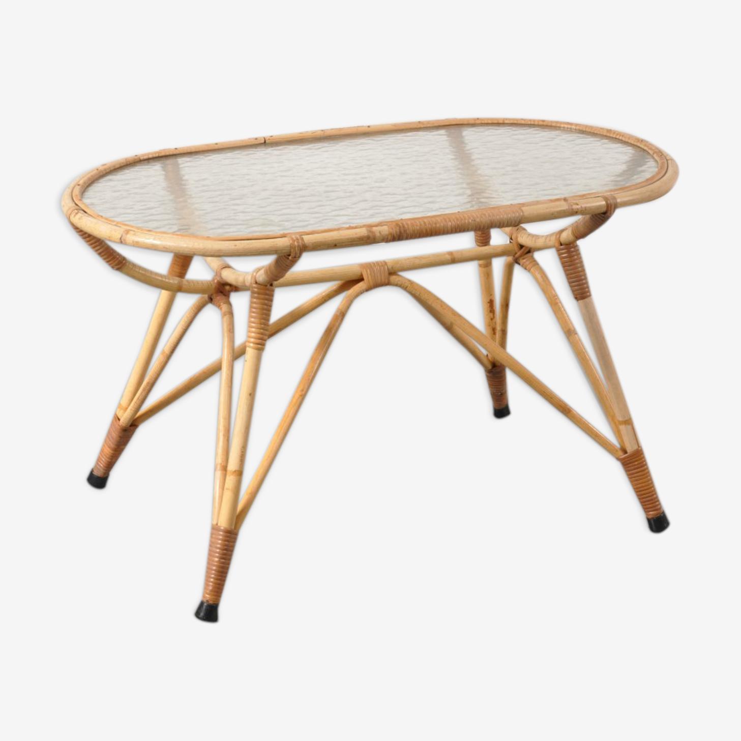Table basse en rotin des années 1950