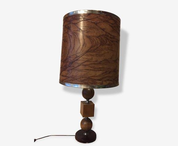 Grande lampe de salon - bois (Matériau) - marron - vintage ...